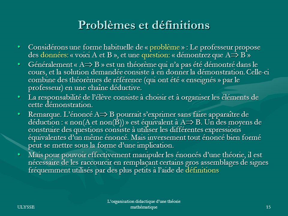 Problèmes et définitions