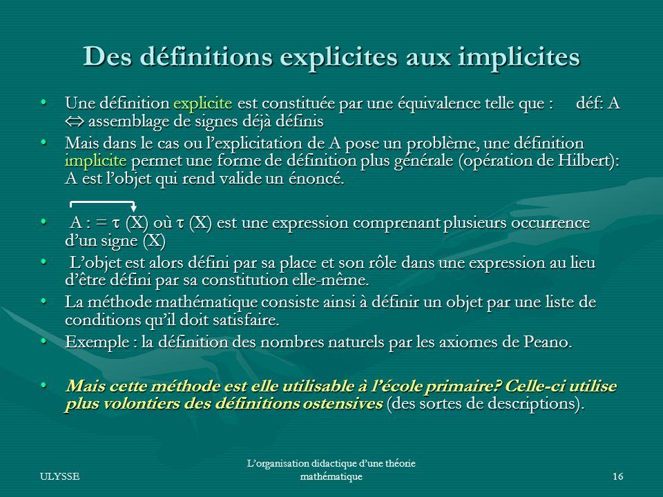 Des définitions explicites aux implicites