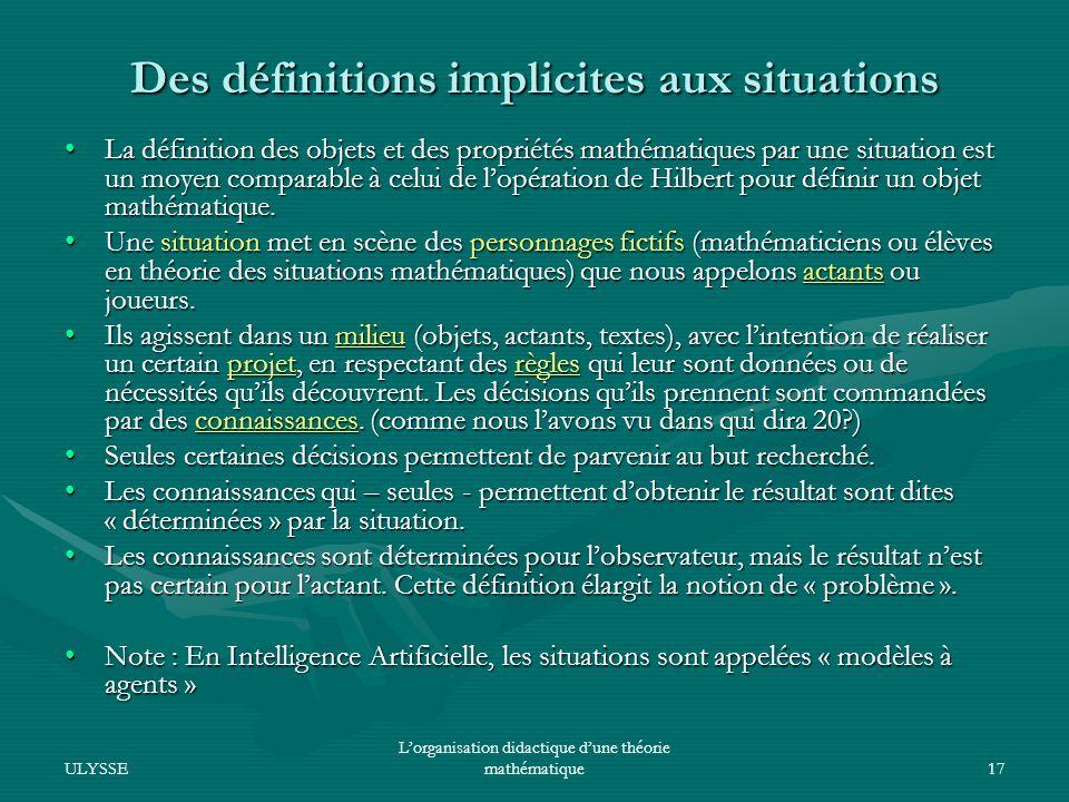 Des définitions implicites aux situations