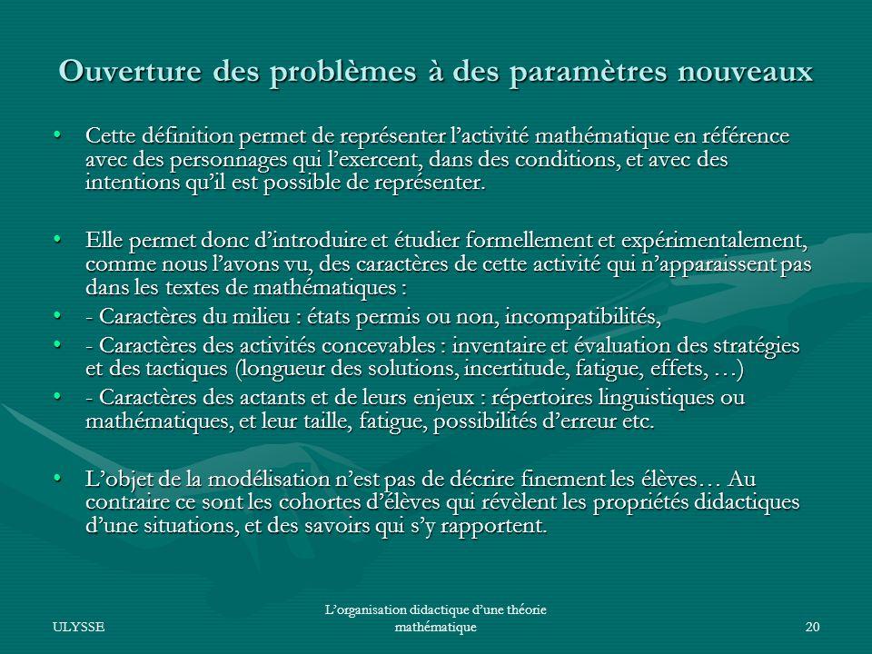 Ouverture des problèmes à des paramètres nouveaux