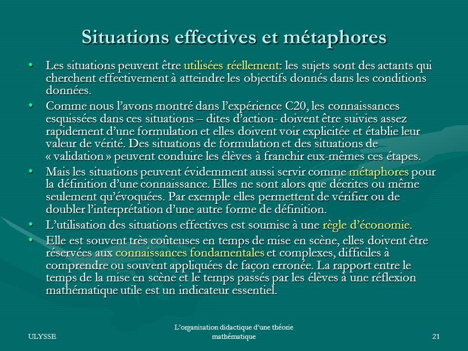 Situations effectives et métaphores
