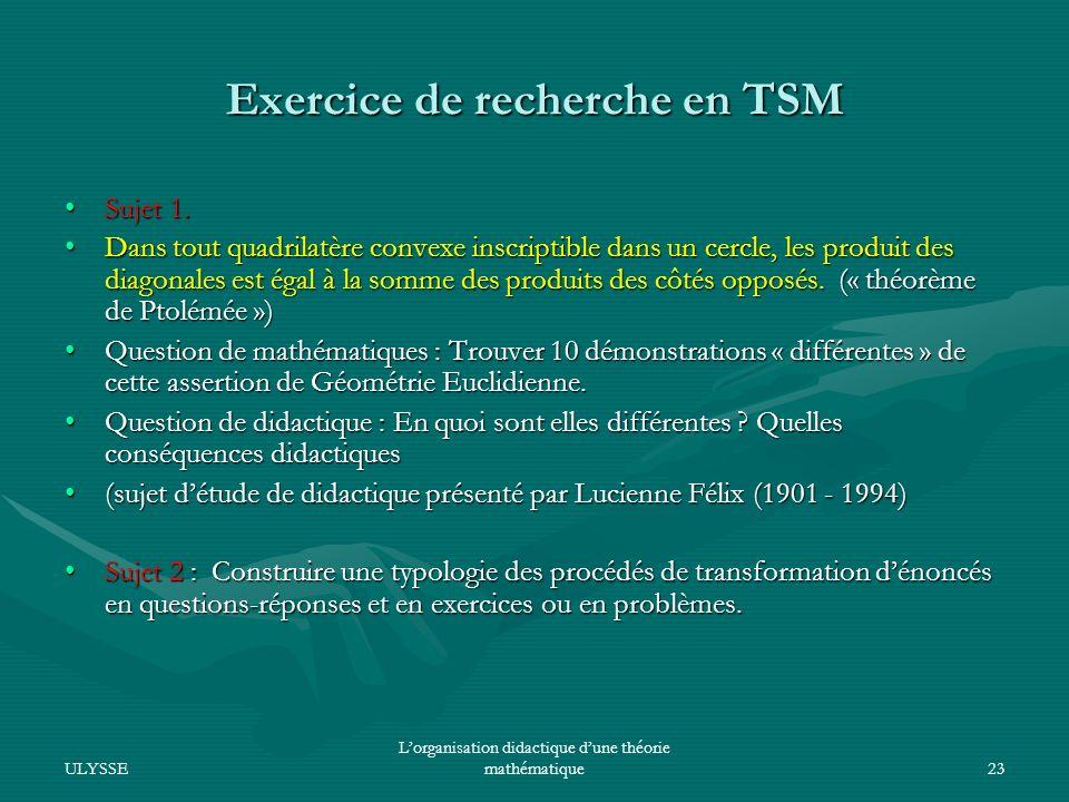 Exercice de recherche en TSM