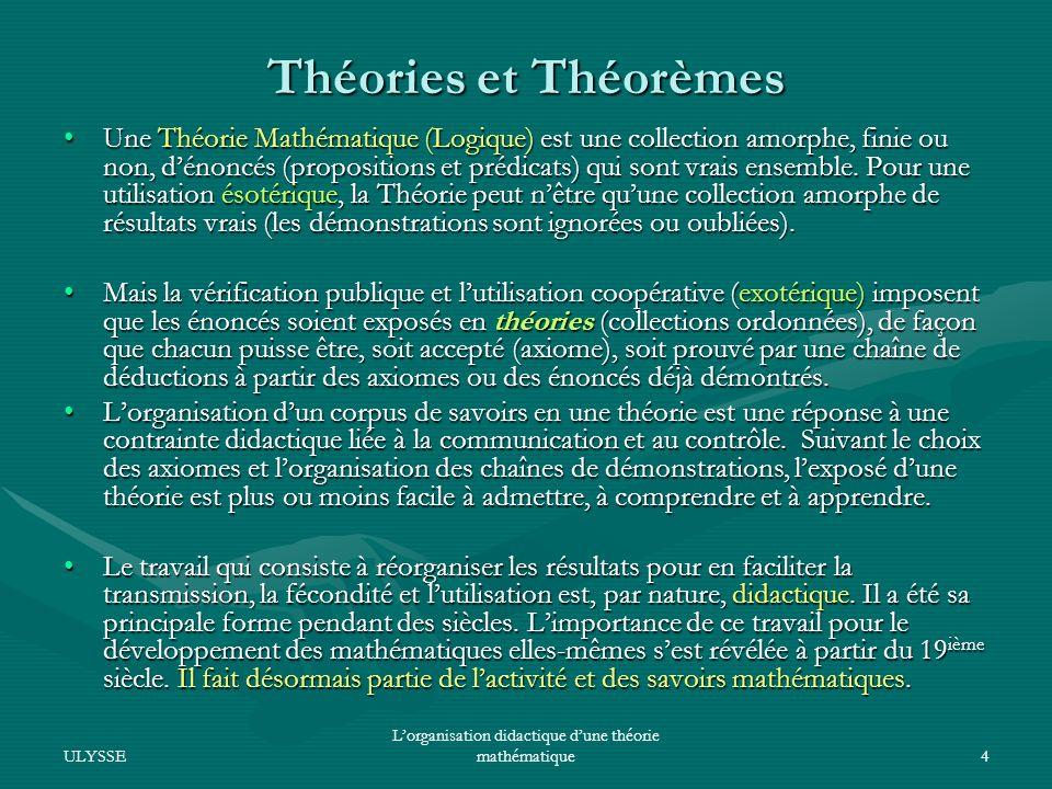 L'organisation didactique d'une théorie mathématique