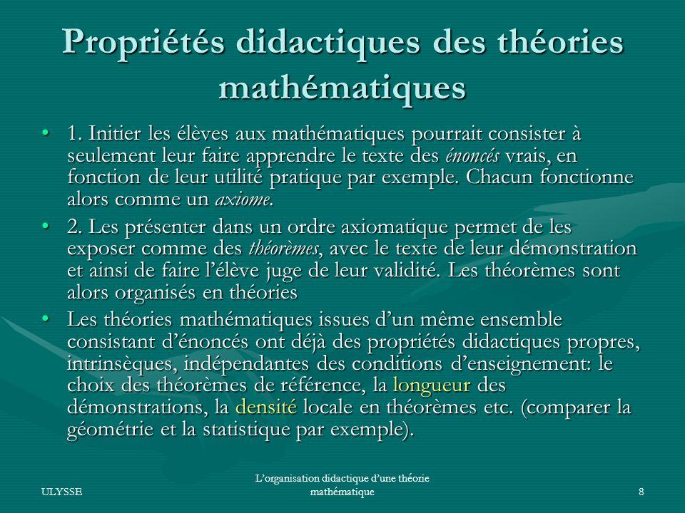 Propriétés didactiques des théories mathématiques