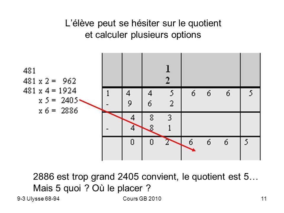 L'élève peut se hésiter sur le quotient et calculer plusieurs options