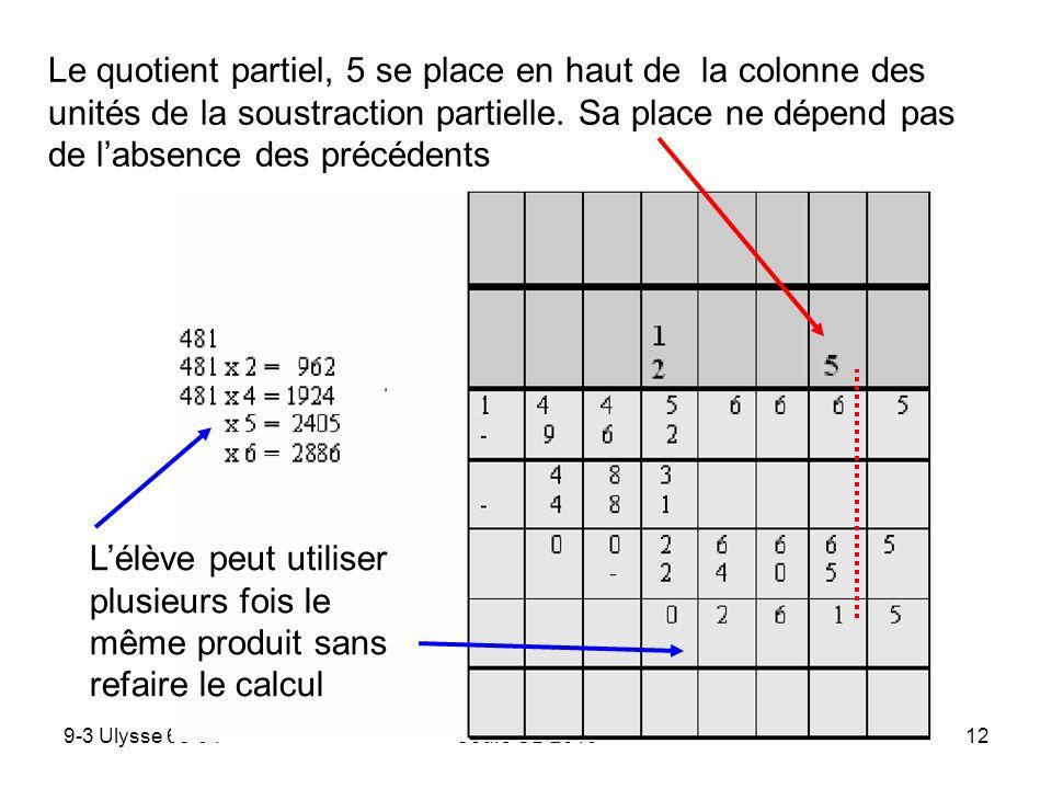 Le quotient partiel, 5 se place en haut de la colonne des unités de la soustraction partielle. Sa place ne dépend pas de l'absence des précédents