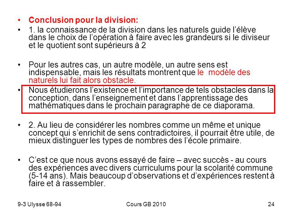 Conclusion pour la division: