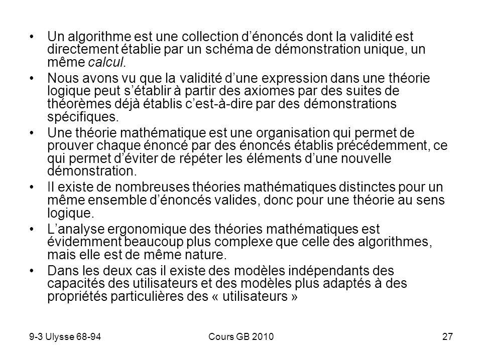 Un algorithme est une collection d'énoncés dont la validité est directement établie par un schéma de démonstration unique, un même calcul.