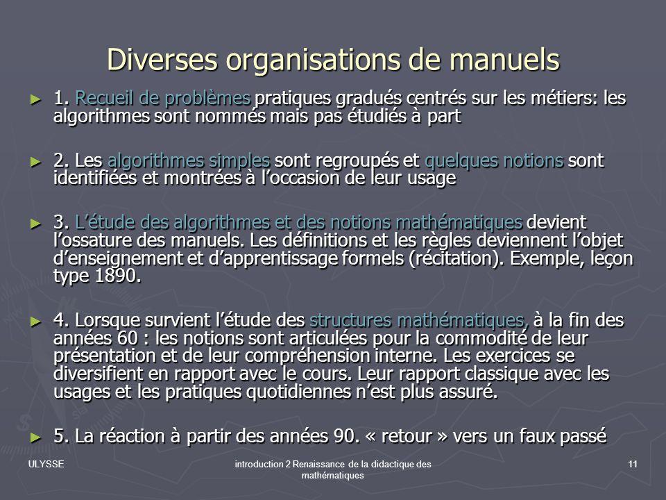 Diverses organisations de manuels