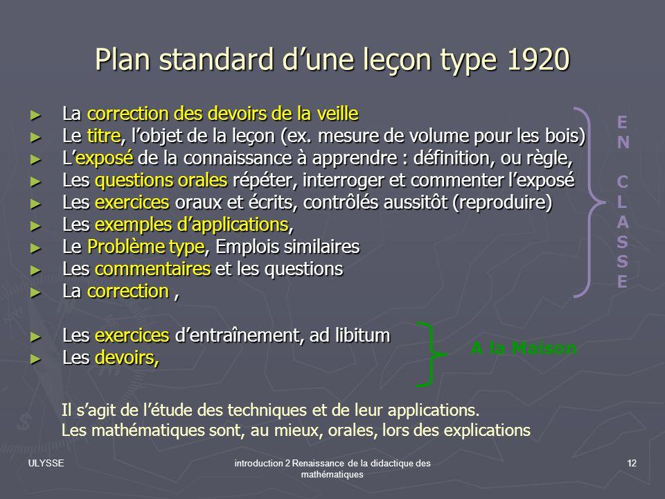 Plan standard d'une leçon type 1920