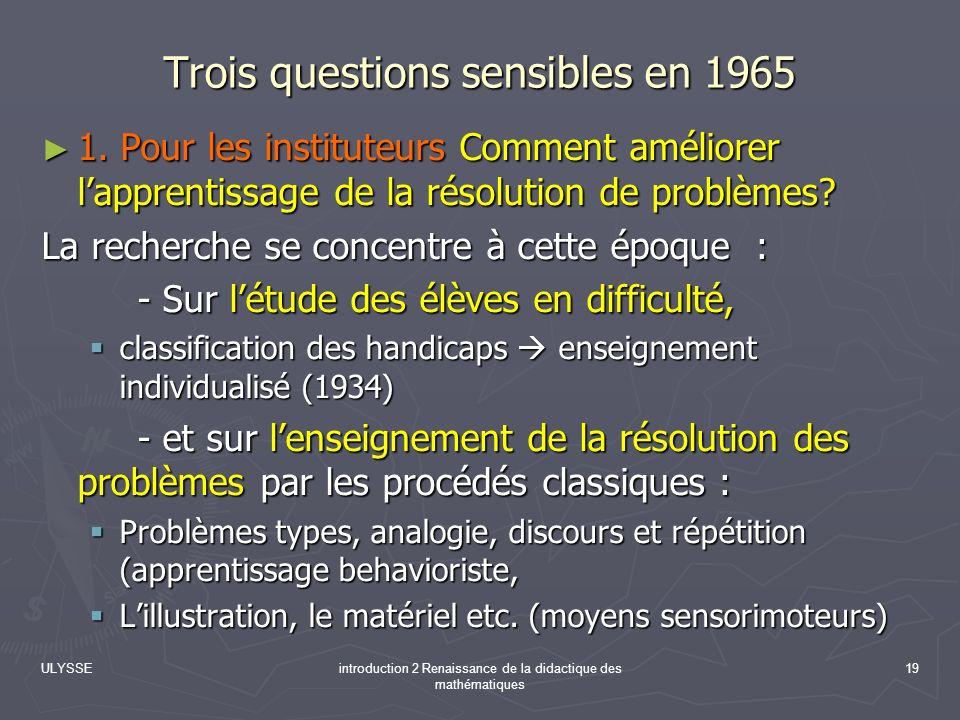 Trois questions sensibles en 1965