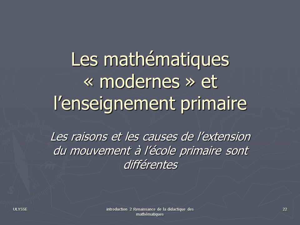 Les mathématiques « modernes » et l'enseignement primaire