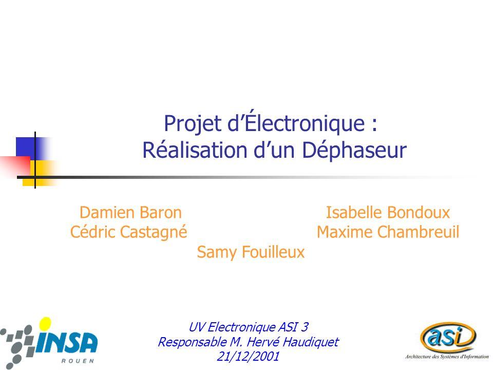 Projet d'Électronique : Réalisation d'un Déphaseur