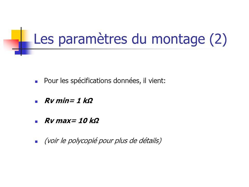 Les paramètres du montage (2)