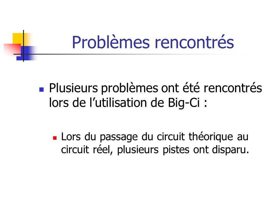 Problèmes rencontrés Plusieurs problèmes ont été rencontrés lors de l'utilisation de Big-Ci :