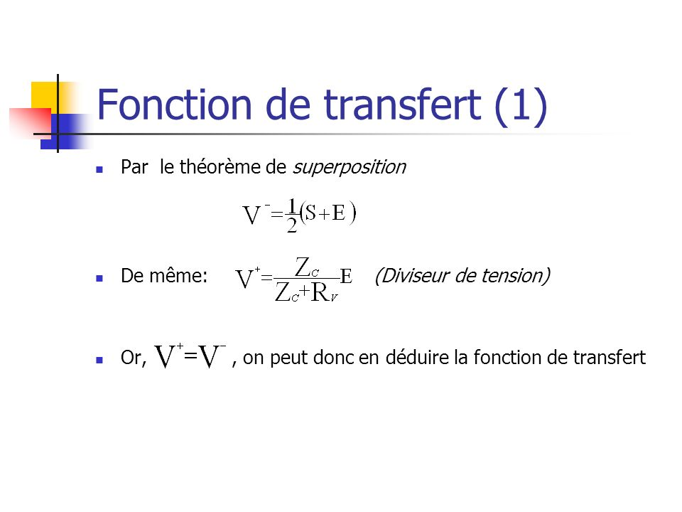 Fonction de transfert (1)