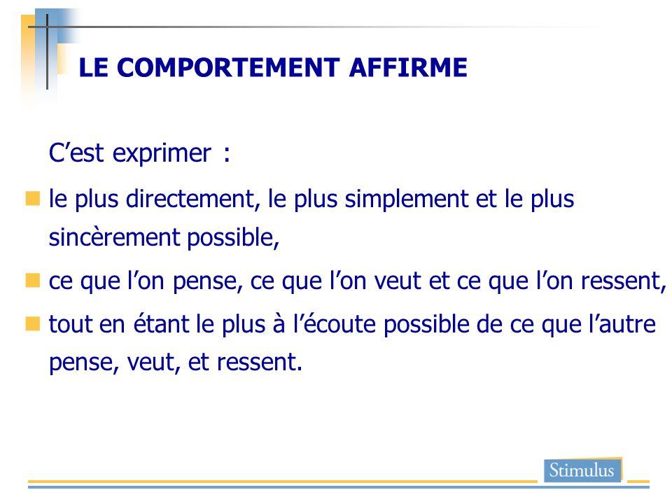 LE COMPORTEMENT AFFIRME