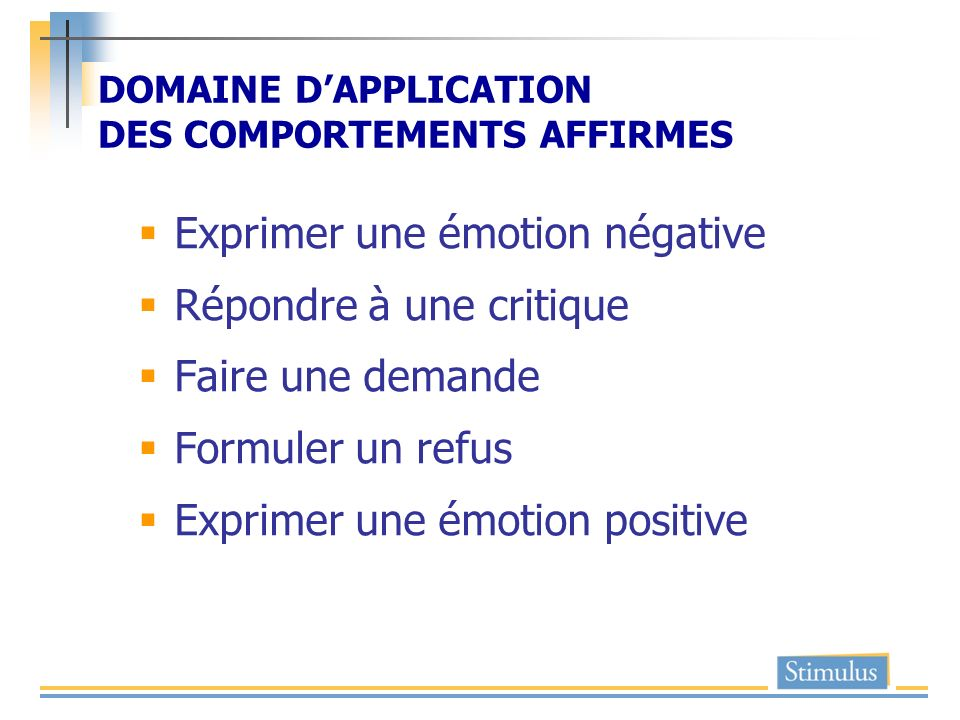 DOMAINE D'APPLICATION DES COMPORTEMENTS AFFIRMES