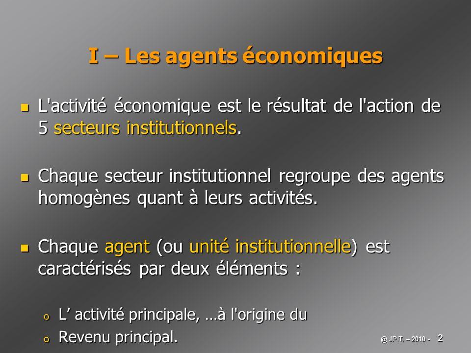 I – Les agents économiques