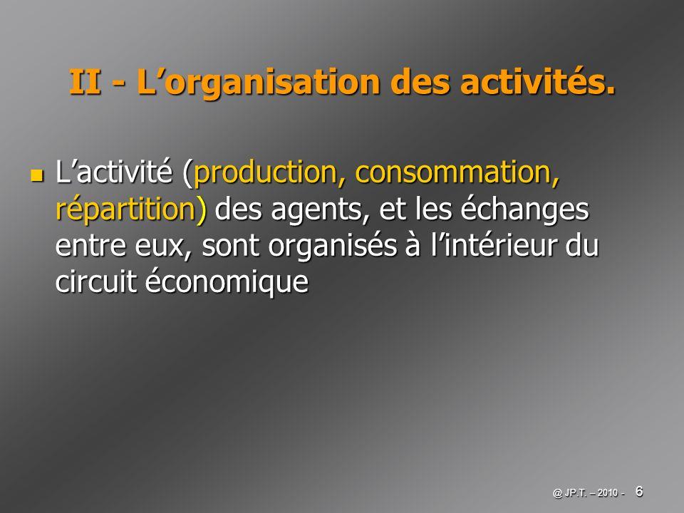 II - L'organisation des activités.