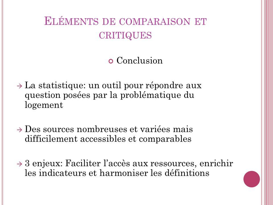 Eléments de comparaison et critiques