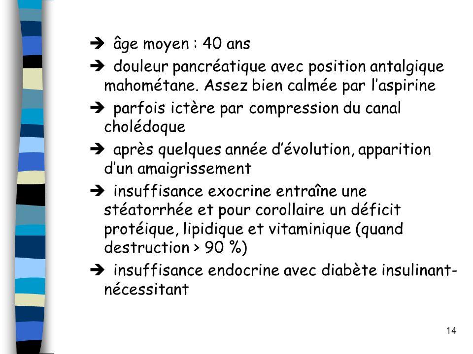 âge moyen : 40 ans douleur pancréatique avec position antalgique mahométane. Assez bien calmée par l'aspirine.