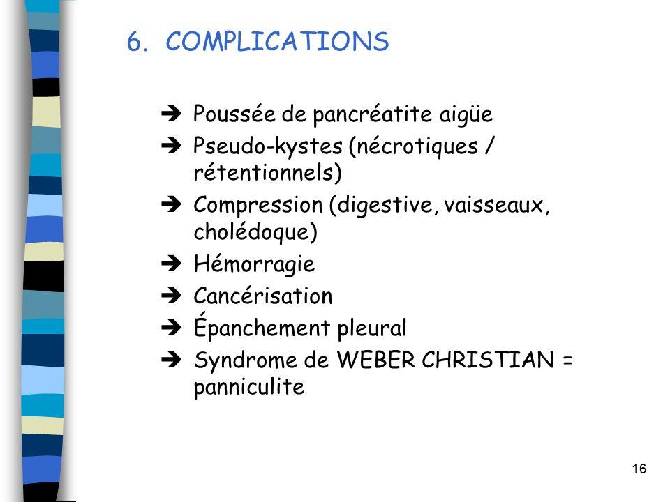 COMPLICATIONS Poussée de pancréatite aigüe