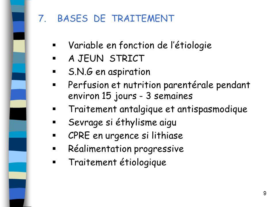 7. BASES DE TRAITEMENT Variable en fonction de l'étiologie. A JEUN STRICT. S.N.G en aspiration.