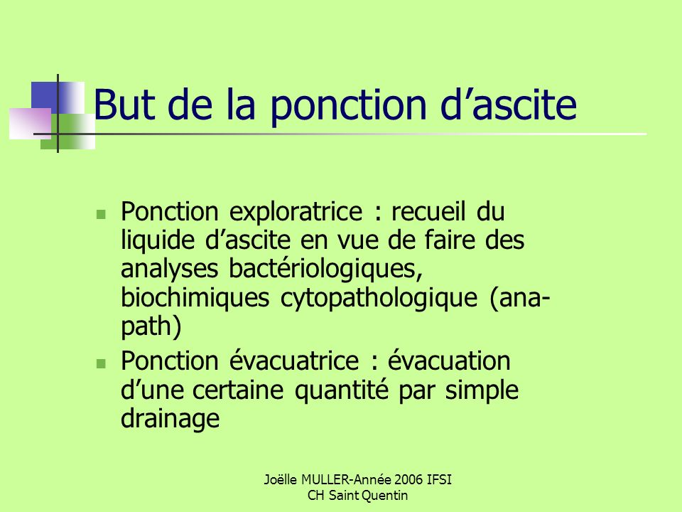 But de la ponction d'ascite