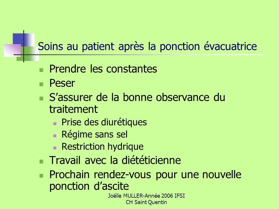 Soins au patient après la ponction évacuatrice