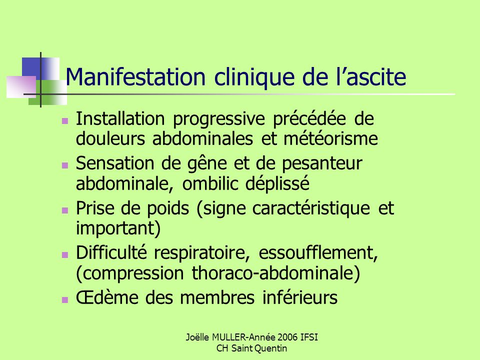 Manifestation clinique de l'ascite