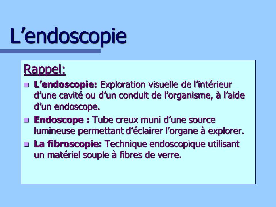 L'endoscopie Rappel: L'endoscopie: Exploration visuelle de l'intérieur d'une cavité ou d'un conduit de l'organisme, à l'aide d'un endoscope.