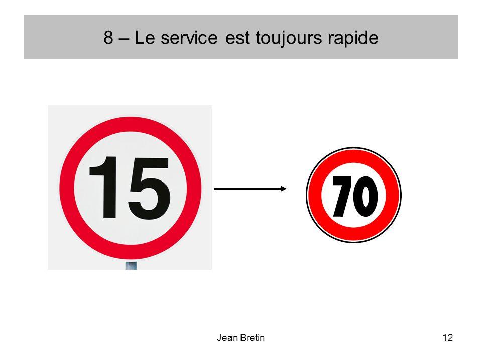 8 – Le service est toujours rapide