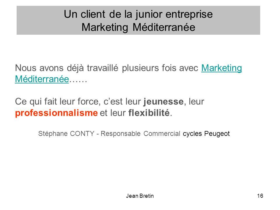 Un client de la junior entreprise Marketing Méditerranée