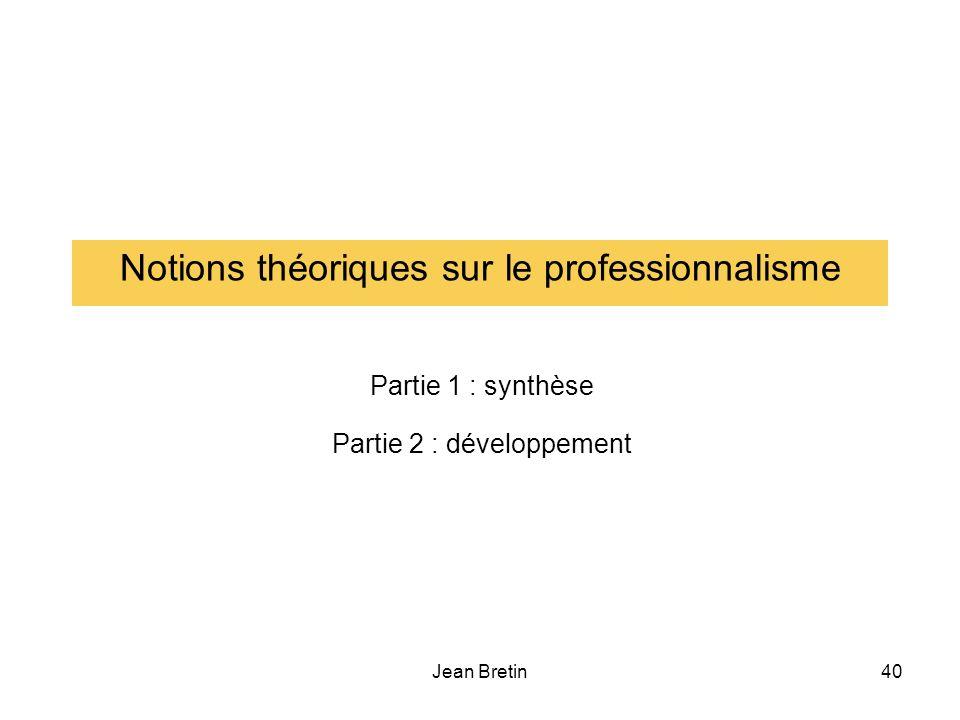 Notions théoriques sur le professionnalisme
