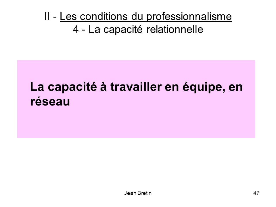 II - Les conditions du professionnalisme 4 - La capacité relationnelle