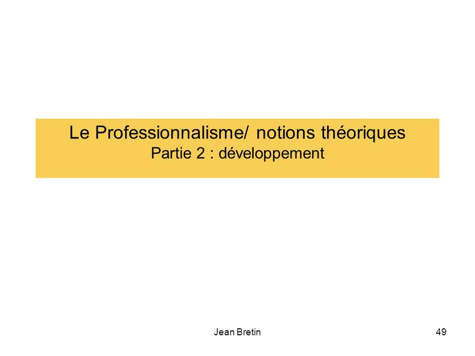 Le Professionnalisme/ notions théoriques Partie 2 : développement