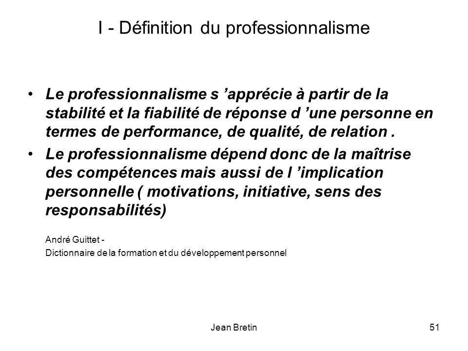 I - Définition du professionnalisme