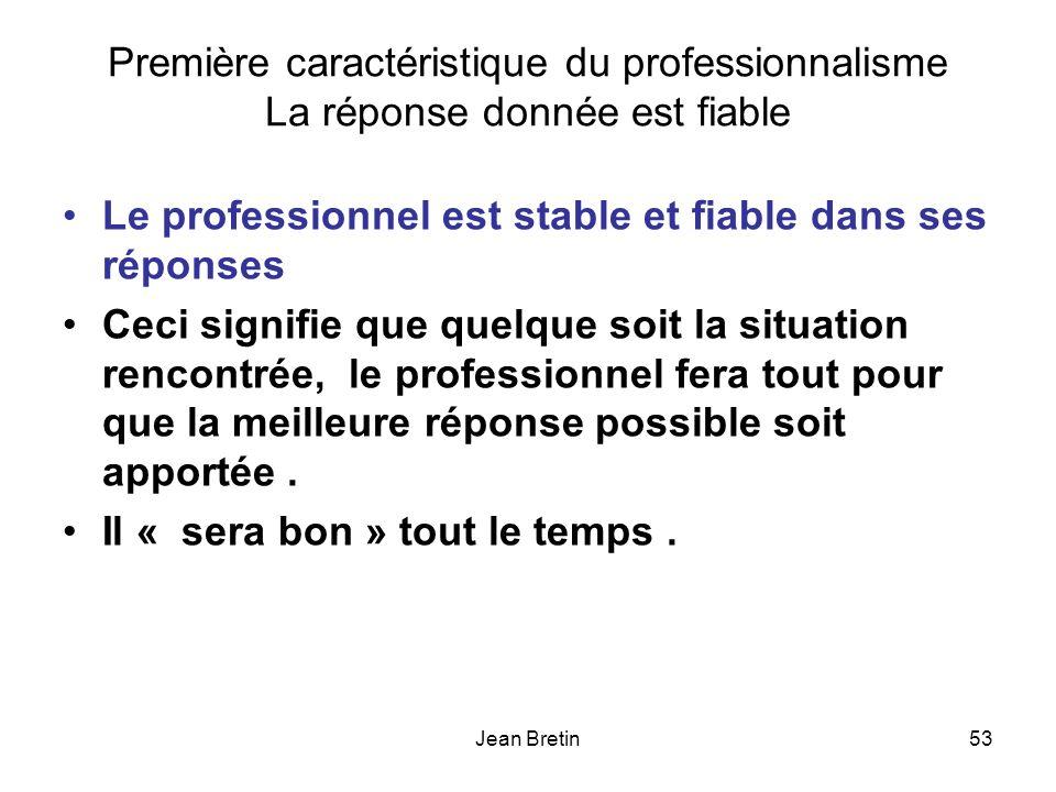 Le professionnel est stable et fiable dans ses réponses