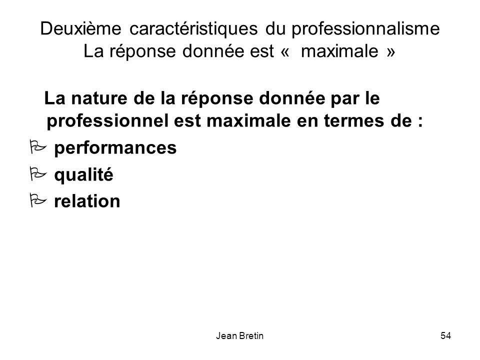 Deuxième caractéristiques du professionnalisme La réponse donnée est « maximale »