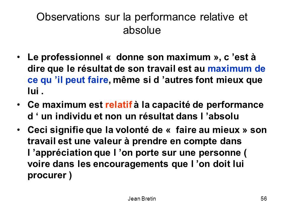 Observations sur la performance relative et absolue