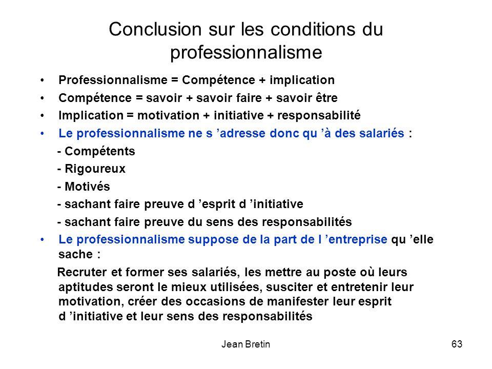 Conclusion sur les conditions du professionnalisme