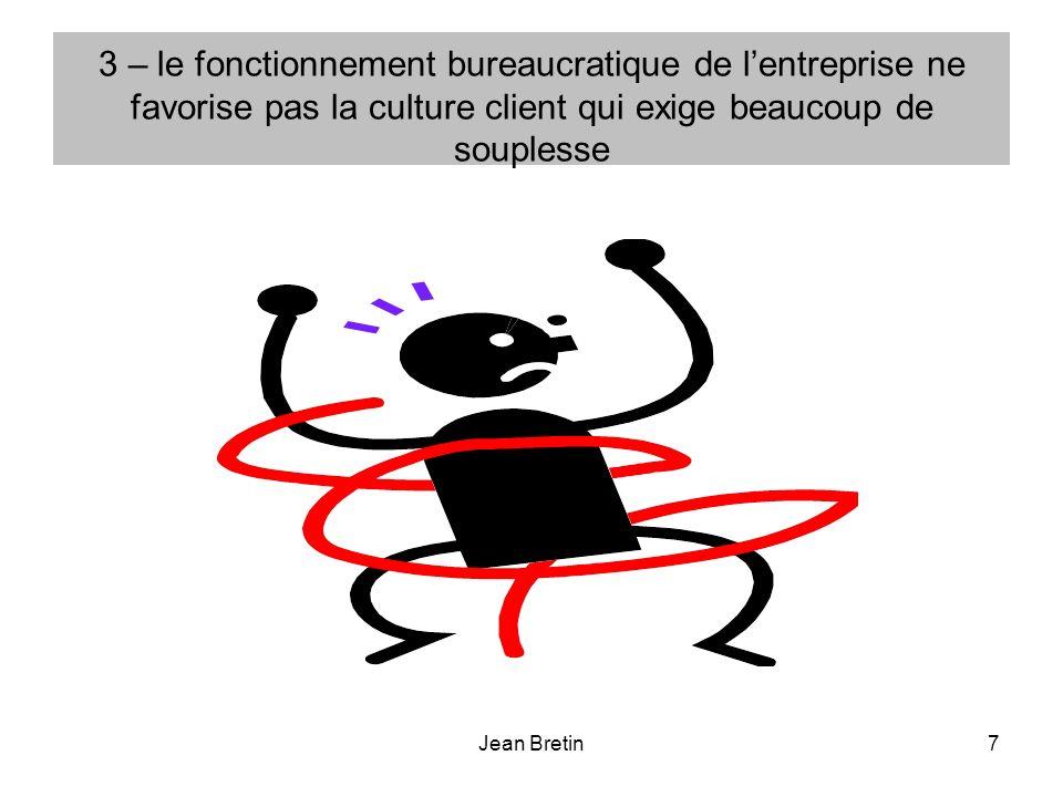 3 – le fonctionnement bureaucratique de l'entreprise ne favorise pas la culture client qui exige beaucoup de souplesse