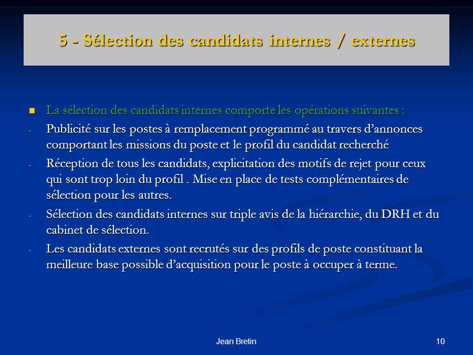 5 - Sélection des candidats internes / externes