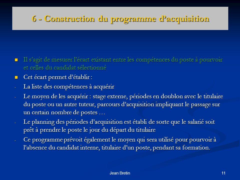 6 - Construction du programme d'acquisition