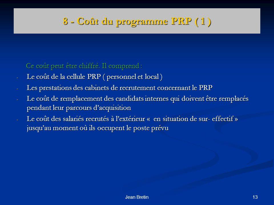 8 - Coût du programme PRP ( 1 )