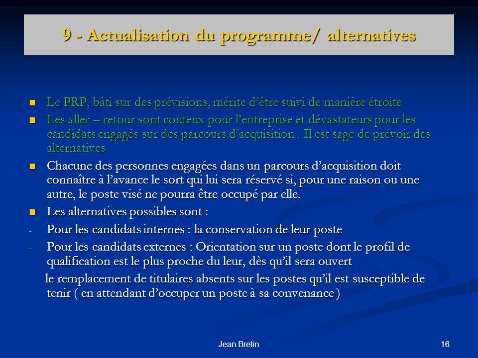 9 - Actualisation du programme/ alternatives