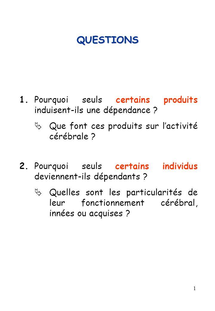 QUESTIONS 1. Pourquoi seuls certains produits induisent-ils une dépendance  Que font ces produits sur l'activité cérébrale