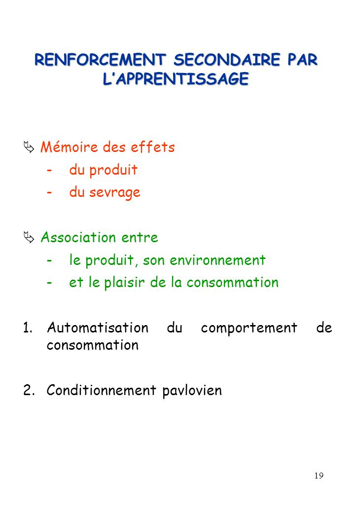 RENFORCEMENT SECONDAIRE PAR L'APPRENTISSAGE