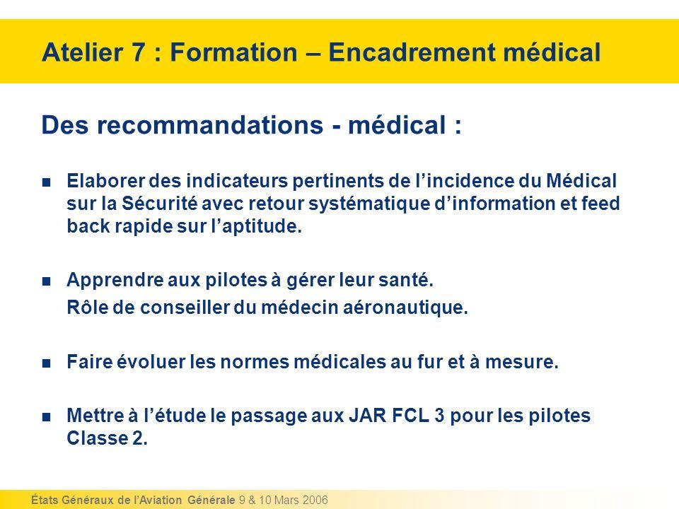 Atelier 7 : Formation – Encadrement médical